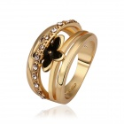 Women's Fashionable Flower Style Rhinestone Studded Gold Plated Finger Ring  - Golden (US Size 8)