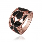 Women's Skeleton Butterfly Rhinestone-studded Gold-plated Ring - Rose Gold + Black (US Size 8)