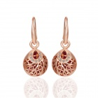 Women`s Skeleton Ball Rhinestone Gold Plated Earrings - Rose Gold