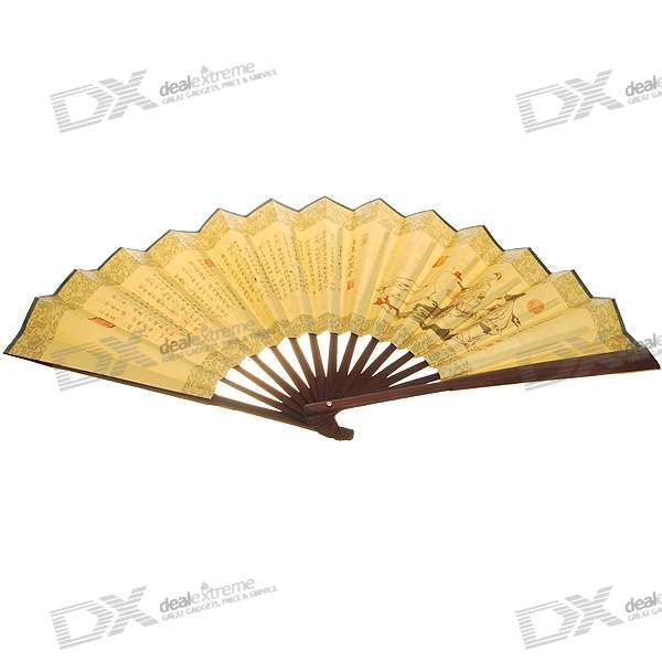Silk Traditional Bamboo Fan with Painting Chinese Poems (Golden)