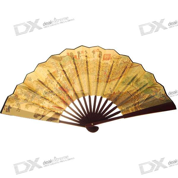 Silk Traditional Bamboo Fan with Painting Ancient Chinese (Golden)