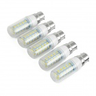 JRLED B22 7W LED Corn Lamp Warm White 3200K 200lm 36-SMD 5730 - White + Yellow (AC 220~240V / 5PCS)