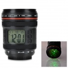"SLR Lens Style 2.1"" LCD Desk Clock w/ Temperature Display / Alarm / Projection Light - Black + Red"