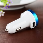 ES-05 Dual USB Car Charger for Cellphone - White + Sky Blue
