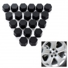 Universal 19# Silicone Car Wheel Hub Screw Nut Decoration Cap Cover - Black (20pcs)