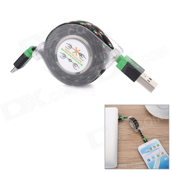 Retractable USB2.0 M to Micro USB M Charging Cable for Samsung - Black