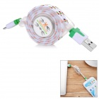 Retractable USB 2.0 Male to Micro USB Male Data / Charging Nylon Cable for Samsung / Xiaomi - White