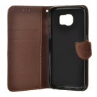 PU+TPU Case w/ Stand, Card Slots, Strap for Samsung S6 - Black + Brown