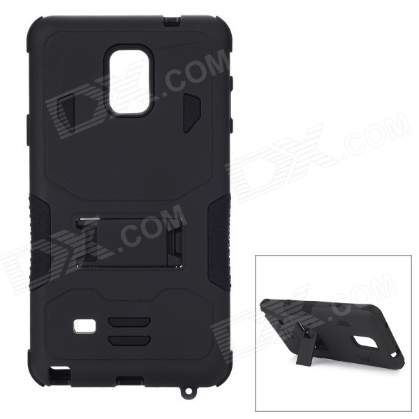 Cool Silicone + PC Back Case w/ Stand for Samsung Note 4 - Black