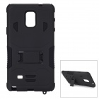 Cool Protective Silicone + PC Back Case w/ Stand for Samsung Note 4 - Black