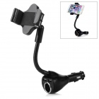 360 Degree Rotary Car Lighter Mount Holder w/ Dual USB Port for Smartphones / GPS - Black