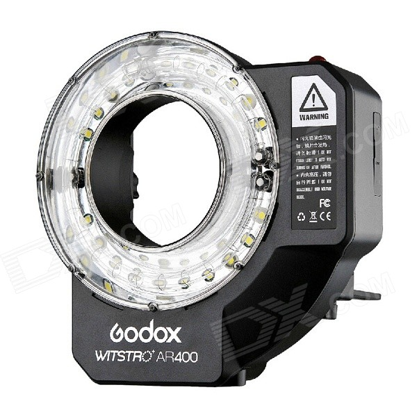 Godox Witstro AR400 High Power Ring Flash - White + BlackLighting and Flash<br>Form ColorWhite + BlackModelAR400MaterialPlasticQuantity1 DX.PCM.Model.AttributeModel.UnitCompatible BrandUniversalCompatible ModelsUniversalActual LumensN/A DX.PCM.Model.AttributeModel.UnitTypeLEDGN36 DX.PCM.Model.AttributeModel.UnitColor Temperature5600KRecycle time0.05-2.8 DX.PCM.Model.AttributeModel.UnitWorking Voltage   11.1 DX.PCM.Model.AttributeModel.UnitPower400 DX.PCM.Model.AttributeModel.UnitLED Quantity20 DX.PCM.Model.AttributeModel.UnitBattery TypeLi-polymer batteryBattery included or notYesBattery Quantity1 DX.PCM.Model.AttributeModel.UnitOther FeaturesDisplay screen size: 1.7Packing List1 x Flash Light1 x Folding holder1 x Umbrella holder2 x Fixing bolts1 x Diffusion cover1 x 4500mAh Li-polymer battery1 x Chinese &amp; English instruction manual1 x AC charger (EU Plug; Input: 100V-240V, length of 145cm)<br>