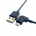 CY 90 Degree Angled Micro USB to USB Data Charge Cable - Black (3M)