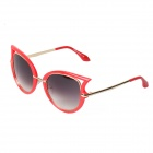 Colorful Retro Round Alloy + PC Sunglasses for Women - Red + Grey