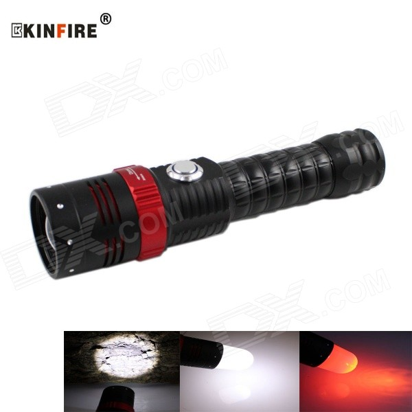 KINFIRE 650lm 5-mode XM-l T6 LED rød + hvit zoomable SOS lommelykt