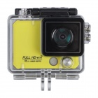 "X5 Wi-Fi FHD 2K Waterproof 12MP Sports Camera DV w/ 2"" LCD / 170 Degree Wide Lens - Yellow"