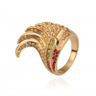 Women's Unique Cockscombs-shaped Gold-plated Rhinestone Finger Ring - Golden + Red (US Size 8)