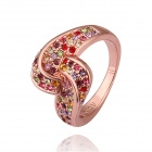 Women's Geometric Gold-plated Rhinestone-studded Finger Ring - Rose Golden + Red (US Size 8)
