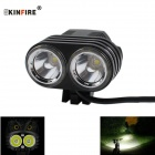 KINFIRE X20 1000lm 2-LED 4-Mode Bike Light Headlamp w/ Dual Mode Switch - Black + Silver (6 x 18650)