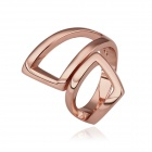 Women's Geometric-shaped Gold-plated Ring - Rose Golden (US Size 8)