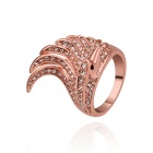 Women's Unique Cockscombs Shaped Gold-Plated Rhinestone Inlaid Ring - Rose Gold (US Size 8)