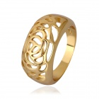 Women's Retro Charming Flower Shaped Hollow-out Gold Plated Finger Ring - Golden (US Size 8)