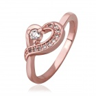 Frauen Süße Shiny Heart-shaped Zirkon Intarsien Finger Ring - Rose Golden (US-Größe 8)
