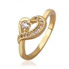 Women's Sweet Shiny Heart-shaped Zircon Inlaid Finger Ring - Golden (US Size 7)
