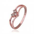 Women's Glamorous Rhinestone-studded Gold-plated Ring - Rose Golden (US Size 8)