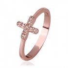 Fashionable Cross-shaped Gold-plated Crystal Finger Ring - Rose Golden (US Size 8)