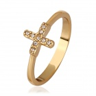 Women's Fashionable Cross-shaped Gold-plated Crystal Finger Ring - Golden (US Size 8)