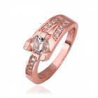 Women's Elegant Shiny Zircon Inlaid Rose Gold Plated Finger Ring - Rose Golden (US Size 7)