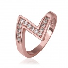 Women's Z-Shaped Gold-plated Zircon Inlaid Ring - Rose Golden (US Size 8)