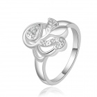 Women's Fashionable Shiny Zircon Inlaid Silver-plated Ring - Silver (US Size 8)