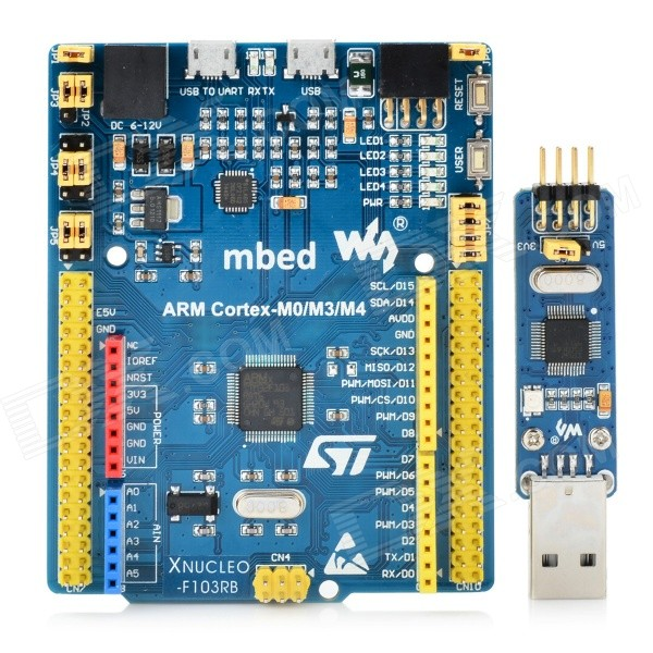 Waveshare XNUCLEO-F103RB STM32F103RBT6 Mbed Module for Arduino - BlueBoards &amp; Shields<br>Form ColorBlueModelXNUCLEO-F103RBQuantity1 DX.PCM.Model.AttributeModel.UnitMaterialFR4 + PCBChipsetSTM32F103RBT6Hardware PlatformST, mbed ArduinoEnglish Manual / SpecNoDownload Link   http://www.wvshare.com/downloads/accBoard/XNUCLEO.7zOther FeaturesA product for Arduino that works with official Arduino boards.Packing List1 x Board1 x ST-LINK/V2 module (mini)1 x USB cable (type A male to micro male / 120cm)<br>