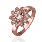 Women's Fashionable Shiny Flower Shaped Zircon Inlaid Ring - Rose Gold (US Size 8)