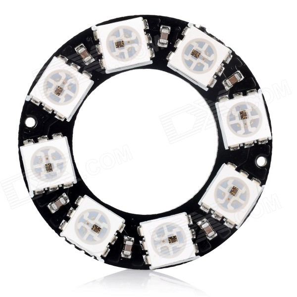 WS2812 5050 RGB 8-LED Round Lamp Development Board for Arduino - Black