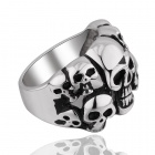 Cool Punk Skull Detailed 316L Stainless Steel Ring - Black + Silver (US size 7)