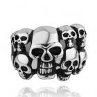 Punk Skull 316L Stainless Steel Ring - Black + Silver (US size 7)