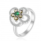 Women's Trendy Flower Shaped Zircon Inlaid Silver-plated Finger Ring - Silver + Green (US Size 8)