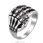 Cool Punk Skeleton Hand Style 316L Stainless Steel Ring - Black + Silver