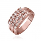 Women's Luxury Shiny Zircon Inlaid Rose Gold Plated Ring - Rose Golden (US Size 8 )