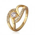 Women's Shiny Zircon Inlaid Gold-plated Ring - Golden (US Size 7)