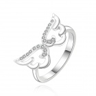 Women's Shiny Zircon Inlaid Wing Shape Silver Plated Ring - Silver (US Size 8)