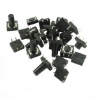 BRICOLAJE 12 x 12 mm Touch Switch interruptor Micro componente Button - negro (60 piezas)