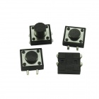 DIY 12 x 12mm Touch Switch Button Micro Switch Component - Black (60 PCS)
