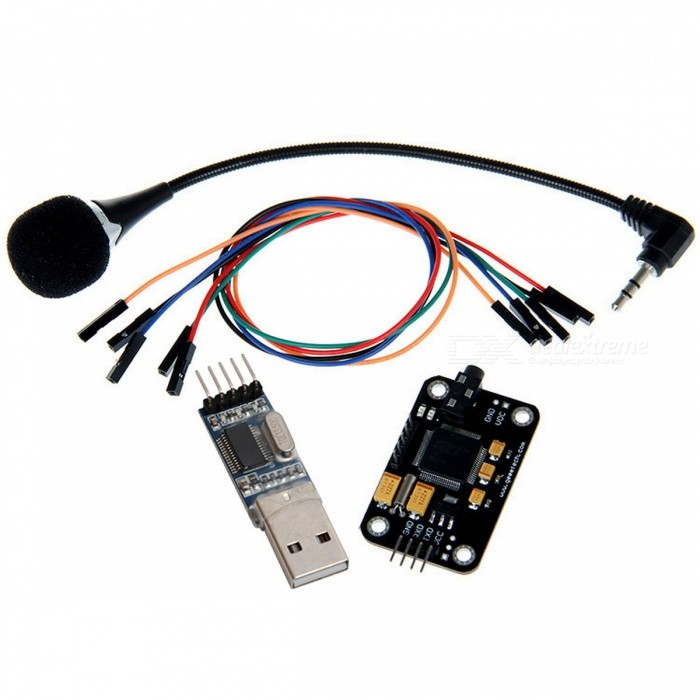 Geeetech Voice Recognition Microphone + USB to RS232 TTL Module KitKits<br>Form  ColorBlack + Red + Multi-ColoredModelVoiceQuantity1 setMaterialPCBEnglish Manual / SpecYesDownload Link   http://www.geeetech.com/wiki/index.php/Arduino_Voice_Recognition_ModuleOther FeaturesVoltage:4.5-5.5V;<br>Current:Less than 40mA;<br>Digital Interface: 5V TTL level UART interface;<br>Recognition accuracy: 99% (under ideal environment);<br>Analog Interface: 3.5mm mono-channel microphone connector + microphone pin interface;<br>Size: 30mm x 47.5mmPacking List1 x Geeetech Voice Recognition Module1 x Microphone (10cm)1 x USB to RS232 TTL Module5 x 30cm 1pin Female to Female jumper wire (random color)<br>
