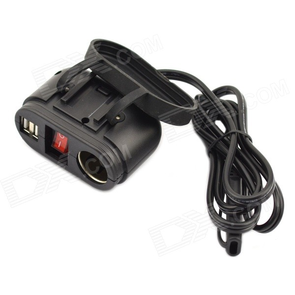 Jtron Motorcycle 5V / 12V Dual-USB Cigarette Lighter Switch - Black