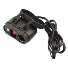 Jtron Motorcycle 5V / 12V Dual-USB Cigarette Lighter Socket Power Adapter Charger w/ Rocker Switch