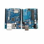 UNO R3 Board Module + Ethernet Shield W5100 Module for Arduino - Blue